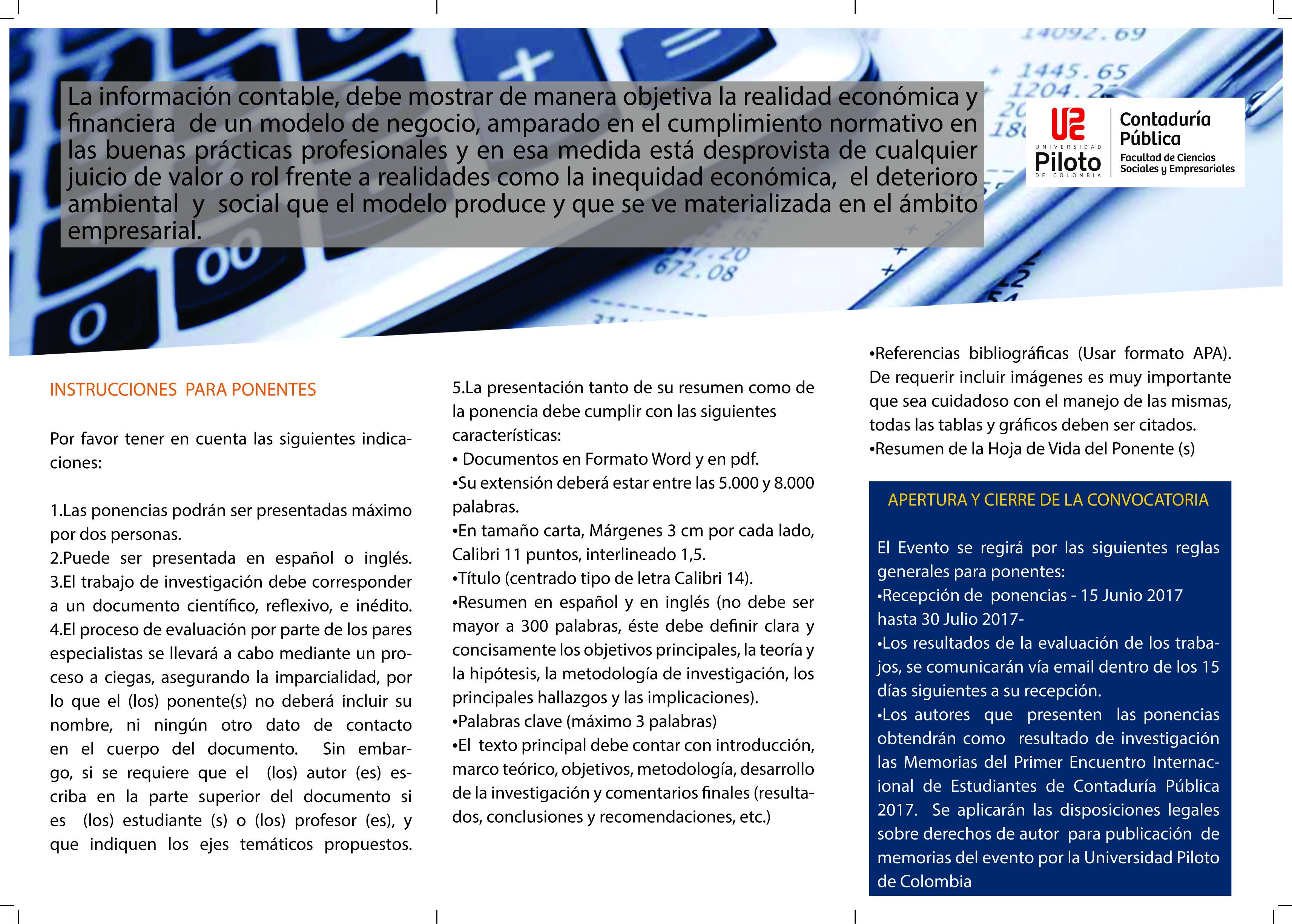 Universidad Piloto de Colombia – PRIMER ENCUENTRO INTERNACIONAL DE ...