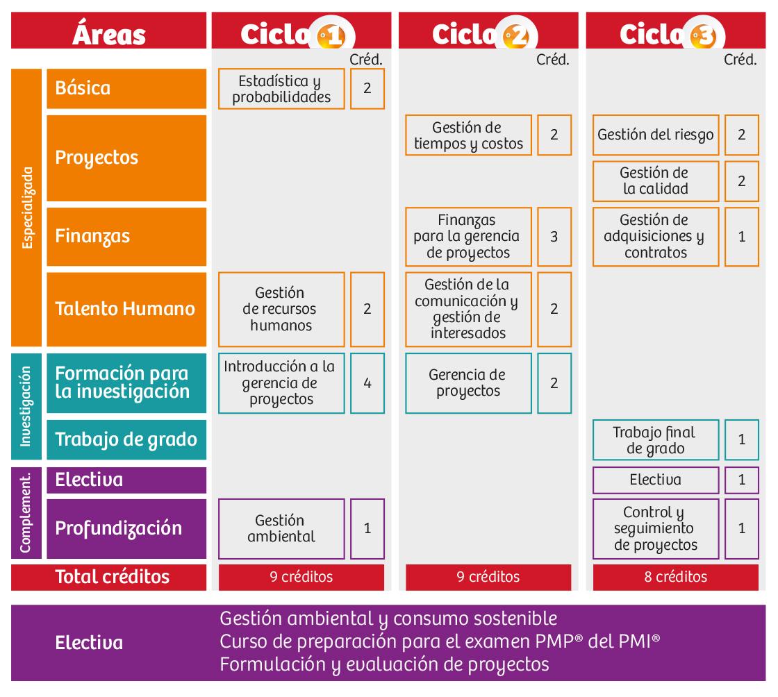 Plan de Estudios Especialización Virtual en Gerencia de Proyectos