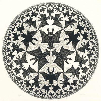 Límite circular IV (cielo e infierno (1960), xilografía de M. C. Escher