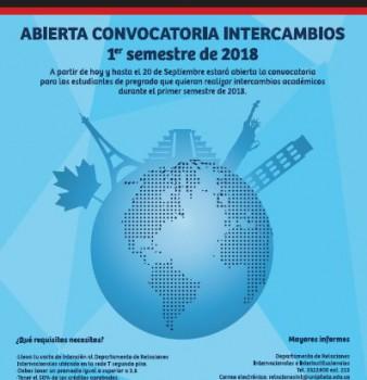 ABIERTA CONVOCATORIA INTERCAMBIOS 2018-I