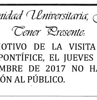 Comunidad universitaria favor tener presente. 7 de septiembre No habrá atención al público.
