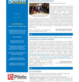 """BOLETIN MENSUAL """"APUNTES DE ECONOMIA"""" MES DE AGOSTO – 2017"""