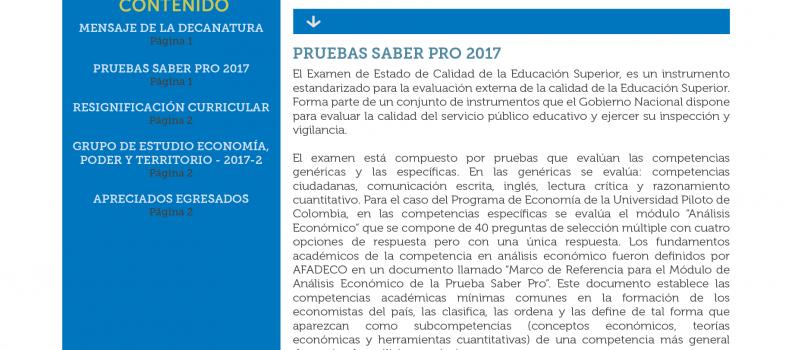 """BOLETIN MENSUAL """"APUNTES DE ECONOMIA"""" JULIO 2017"""