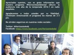 ¡Felicitaciones al programa de radio Horizonte Ambiental!