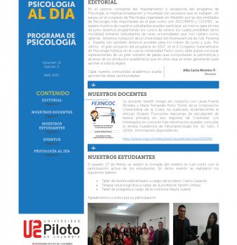 Boletín. Psicología al día Abril 2017