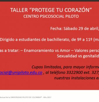 Taller. Protege tu corazón. Centro psicosocial Piloto.