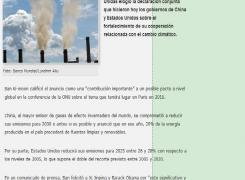 China y EE.UU. firman acuerdo contra el cambio climatico
