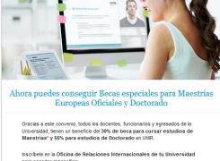 la Universidad Internacional  la Rioja para ofrece becas hasta del 30% en todos los programas de Maestría