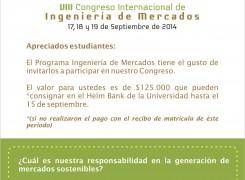 VIII CONGRESO INGENIERÍA DE MERCADOS: MERCADOS SOSTENIBLES