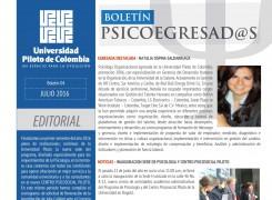 BOLETÍN EGRESADOS DE PSICOLOGÍA Julio-Agosto 2016