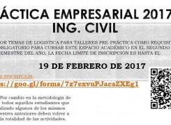 FECHA LIMITE DE INSCRIPCIÓN PRACTICA EMPRESARIAL ING. CIVIL